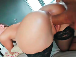 Jamie Jackson performing amazing oral and getting fucked from behind.