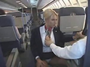 Randy flight attendant giving a dick sucking