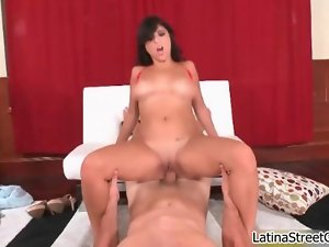 Big titted dark haired nympho gets sensual riding movie