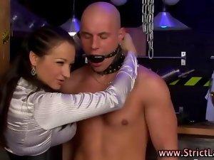 Filthy femdom domina makes cutie suck
