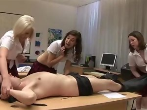 Euro cfnm schoolgirls suck and tug
