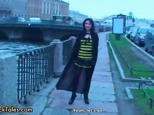 Tempting dark haired lady gets alluring walking clip 2