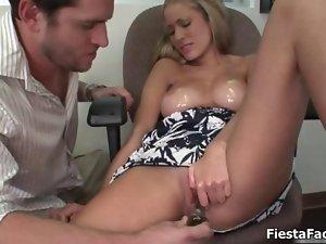 Top heavy blond slutty girl gets alluring jerking video 2