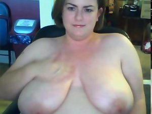obese Thick slutty wife showing her mega big melons on webcam