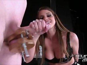 Sexy outfit girl handjob to bondage slave
