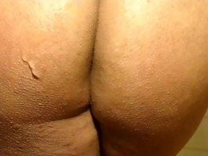 man pleasure him selv dildos up ass double dildo bent over close up