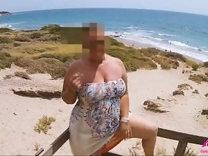 Play with my tits in car and get naked on the beach