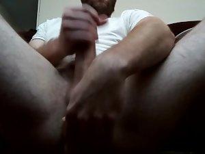 Uncut Cock Kerking With a Dildo in the Ass