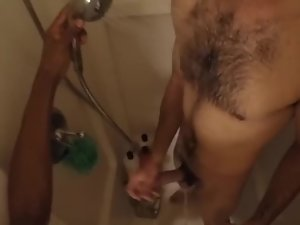 I wash him, then he washes me (Shower Go-Pro) w/cum