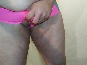 Desperation pee in wife's panties