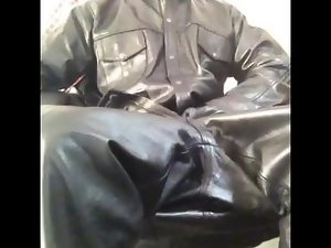 Cumshot in leather
