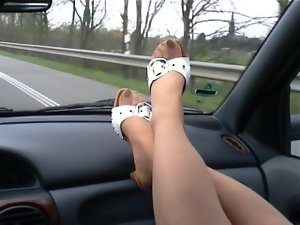 Smelly nylon feet on the windshield