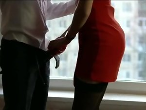 Wifey in Crimson Sundress and Stockings Cheating With Best Friend Before Soiree