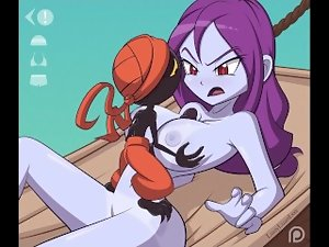 Slutty animation pirate Risky Boots gets her enormous boobs banged and a facial cumshot