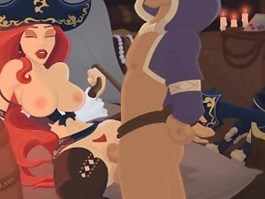 Sensual pirate mistress Miss Fortune gets her snatch and arsehole banged
