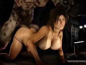 Lara Croft grinded brutal by monsters (long)