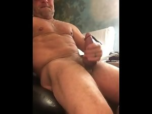 Sexual trucker caresses his enormous shaft