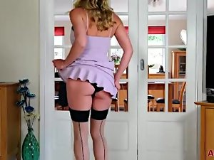 Elegant Eve Big melons Cougar in Stockings Shaggy Muff Pleasure on AllOver30