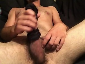 Boy masturbating in nylon