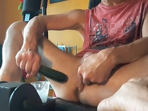 Shagging my yummy butt with zucchini at home (on gym machine) # 4
