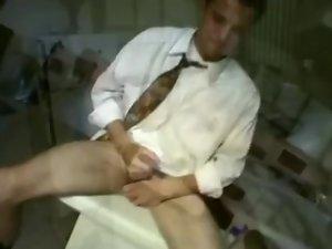 Sensual office dude blows fountain on socks