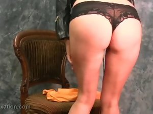 Buxom slutty chicks taunt in tight leather bra jacket boots mini-skirt for kinky fetish
