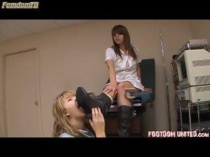 Nurse makes her patient munch her boots