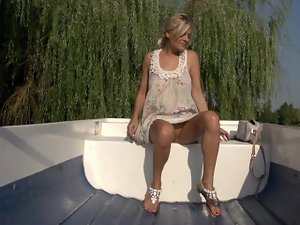 Boat trip. Outdoor masturbating and piss Jasmine Rouge