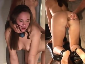 18yo Sub is Tied for Rectal Training with lengthy glass dildo