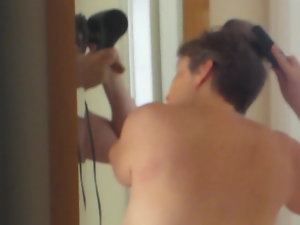 Spy on curvy Brit dirty wife as she dries her hair