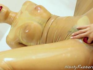 Spandex Condom Catsuit, Finger, Face Sitting