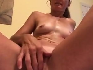 Playing with her twat