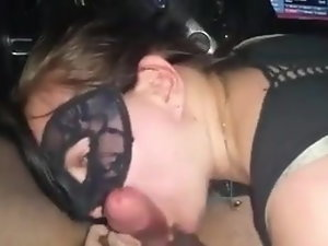 masked oral job in the car