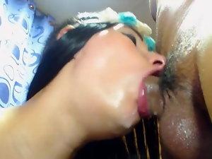 Latina Good looking Licking A Monster Boner