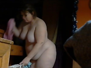 Heavy dirty ass Chrissy comes ouy of the basement bathroom naked