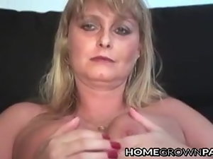 Promiscuous Mummy masturbating solo aided by bulky faux-cock