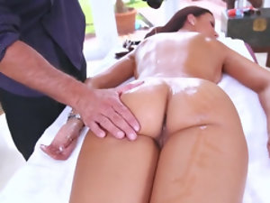 Busty brunette milf gets a massage and a hard dick