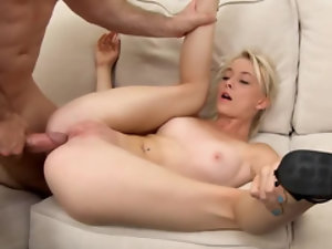 Teen blonde is in a trance-like state from his experienced cock