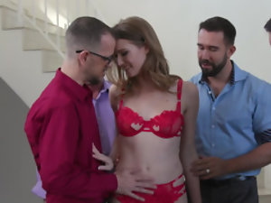 Lustful MILF is surrounded by many cocks and she needs to take care of them