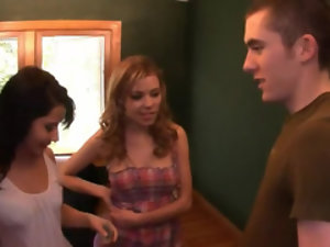 Three horny ladies called over their young male friend