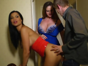 Busty brunette shares stepson's dick with her classy friend