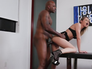 Female agent checks fucking skills of a black man at porn casting