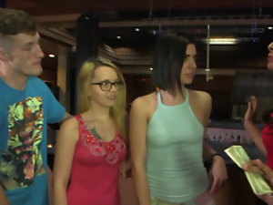 Three beautiful girls take their clothes off for money