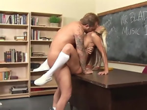 Inked stud bangs a sweet blondie in the classroom