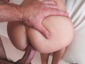 Wet blonde girl enjoys tough sex with boyfriend at hotel
