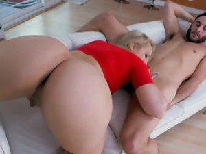 Girl masturbates dick with mouth and hand and gets bonked