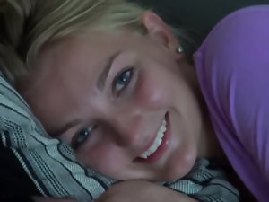 Hot blonde teen enjoys getting hot on camera