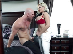 Blonde cougar is off to work, but her husband wants some loving