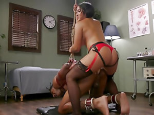 Raven-haired Asian dominatrix fucks and humiliates her slave