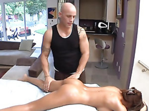 Massage from bald guy relaxes busty chick till she becomes horny
